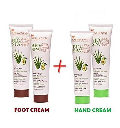 Dead Sea Minerals Bio Spa Avocado x2 Foot cream & x2 Hand cream (Spa Sea Of)