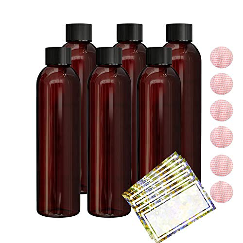 - 16 oz PET Plastic BPA-FREE Bottle 6ct Kit with Pressure Sensitive Liners, Ribbed Caps, Vinyl Label Stickers -Shatterproof Refillable Bullet Cosmo Round Amber Packaging Bottles, 24pc Bundle Set