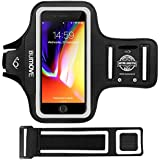 iPhone 7/8/6/6s Plus Armband, BUMOVE Water Resistant Gym Running Workouts Arm Band for iPhone Xs Max, iPhone 7/8/6/6s Plus with Key Holder - Fits Otterbox Case (Black)