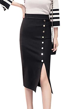 19bf39f476 YUELANDE Womens Solid High Waisted Side Split Workwear Package Hip Midi Skirt  Black US XS