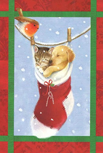 Traditional Christmas Cards ~ Set of 16 Cards and Envelopes (Puppy and Kitten in Stocking - Christmas Wishes) (Puppies Merry Christmas)