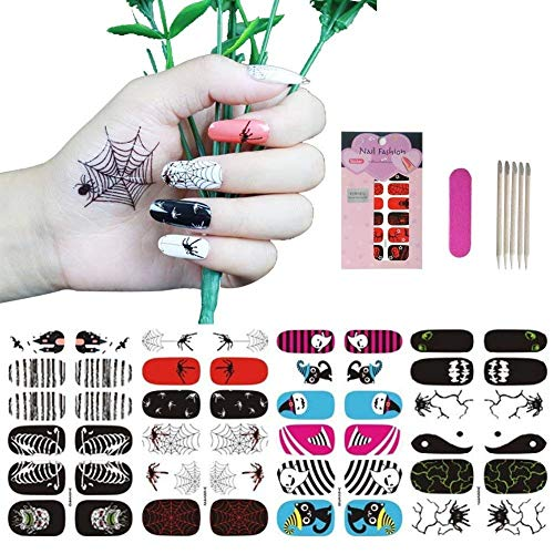 Nail Art Stickers, Nail Decals and Stickers for Party and Daily, VIWIEU Holiday Nail Wrap Stickers Great Variety, 4 Sheets Nail Art Manicure Kit -