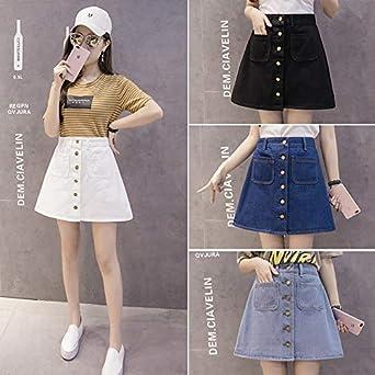 DER - Falda para Mujer (versión Coreana de la Cintura Alta) Blanco ...