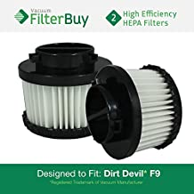 2 - FilterBuy Dirt Devil F-9 (F9) HEPA Replacement Filters, Part #'s 2DJ0360000 & 3DJ0360000. Designed by FilterBuy to fit Dirt Devil Purpose for Pets M0105 Handheld Vacuum