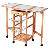 Eight24hours Portable Rolling Drop Leaf Kitchen Storage Island Cart Trolley Folding Table + FREE E-Book
