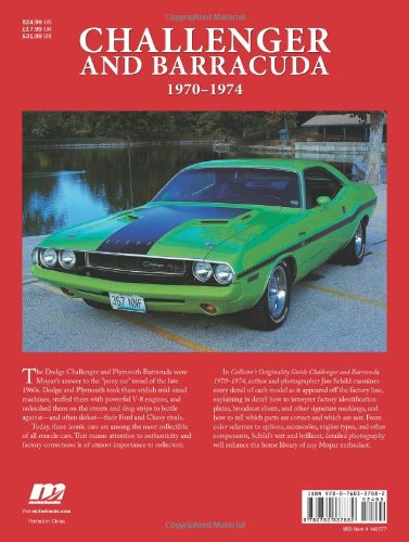 Collectors originality guide challenger and barracuda 1970 1974 collectors originality guide challenger and barracuda 1970 1974 jim schild 0752748337886 amazon books fandeluxe