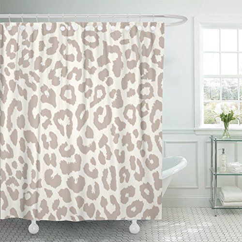 Emvency Shower Curtain Brown Pattern Leopard Animal Cheetah Fur Wild White Waterproof Polyester Fabric 72 x 72 Inches Set with Hooks ()