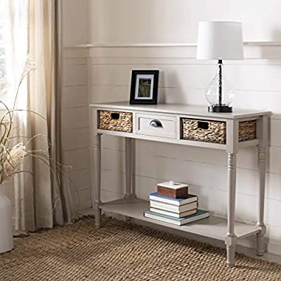 Safavieh American Homes Collection Christa Distressed Black Storage Console Table - Perfect for a hallway, den, living room, bedroom or anywhere in your home that you want to add a fresh accent For over 100 years, Safavieh has been crafting products of the highest quality and unmatched style Crafted of pine wood - living-room-furniture, living-room, console-tables - 51Ip5 9kRuL. SS400  -
