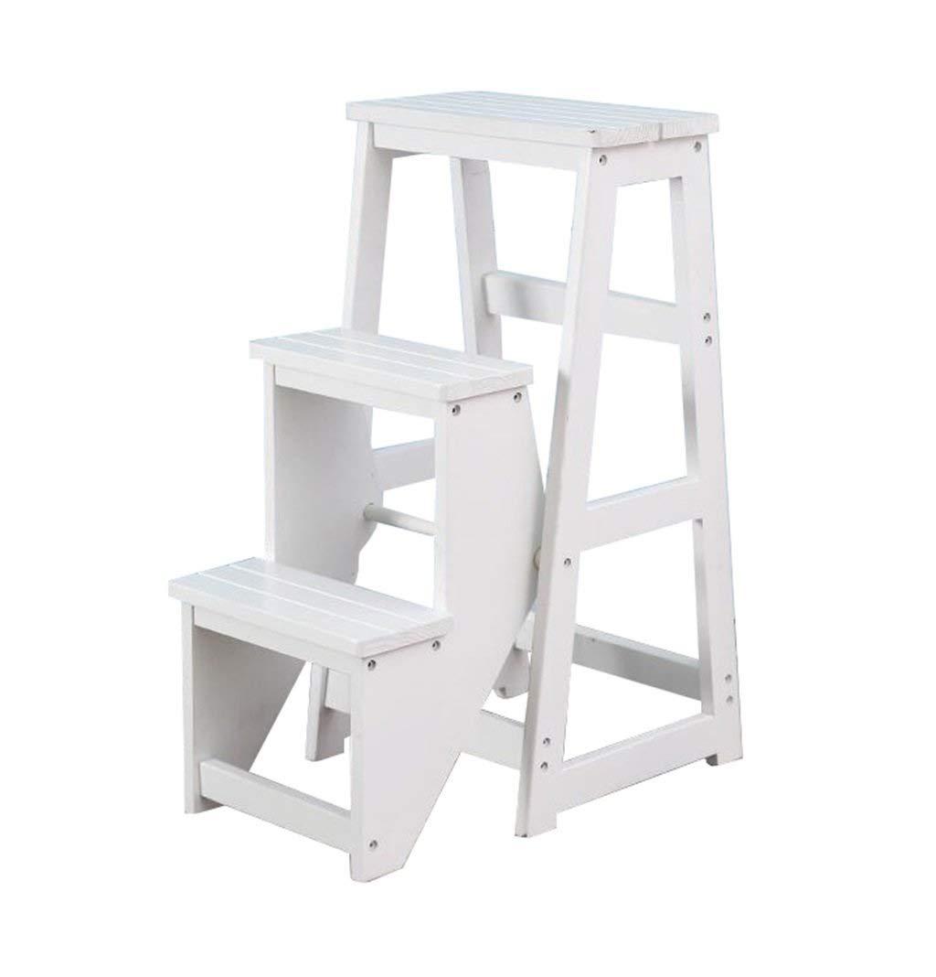 Escabeau pliant, échelle en bois à 3 marches, bibliothèque multifonctionnelle anti-glisse, salle de séjour, salon facile à ranger 36x58x77cm