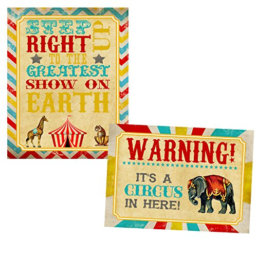 (Silly Goose Gifts Retro Circus Themed Party Supply Supplies Invite Decor Birthday Carnival Food Signs (Welcome)