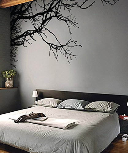 Large Tree Wall Decal Sticker - Semi-Gloss Black Tree Branches, 44in Tall X 100in Wide, Left To Right. Removable, No Paint Needed, Tree Branch Wall Stencil The Easy Way. by Stickerbrand (Image #2)