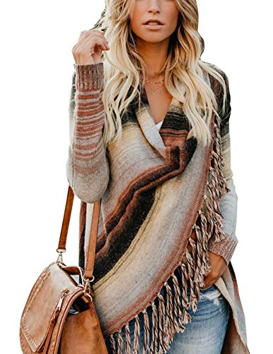 Malluo Women's Aztec Striped Cardigan with Fall Tassels Slash Asymetrical Hem Wrap Fringe Multicolor Cardigan Sweater Poncho for Fall and Winter(Khaki, M)