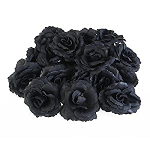 PIXNOR Silk Rose Flower Heads Wedding Party Decoration Pack of 50 (Black) 42