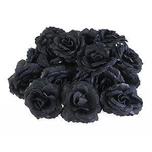 ULTNICE Artificial Rose Flowers Wedding Bride Bouquet Party Table Garden DIY Decor 50pcs (Black) 69