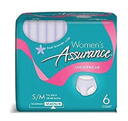 Price comparison product image 6 Count (1Package) S/M Assurance Incontinence Underwear for Women, Maximum Small/Medium
