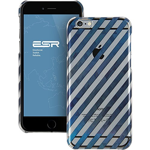 iPhone 6 Case, ESR the Beat Series Protective Case Bumper[Scratch-Resistant] [Perfect Fit] Hard Back Cover with Clear and Blue Twill Pattern for 4.7 inches iPhone 6 (Blue Stripe)