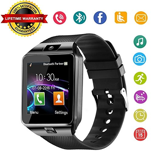 DZ09 Bluetooth Smart Watch Phone - Wzpiss Unlocked Touch Screen Smartwatch Smart Wrist Watch with Camera Pedometer Support SIM Card for iPhone IOS Samsung LG Android Phones for Men Women Kids (Black)