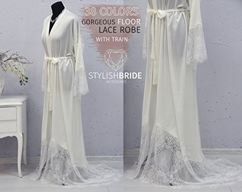 Floor Bridal Silk Robe with Lace Train, Gorgeous Silk and Lace Bridal Robe Floor length, White Ivory Blush Blue Red Black Silk Wedding Robe