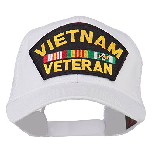 - e4Hats.com Vietnam Veteran Military Patched Mesh Back Cap - White OSFM