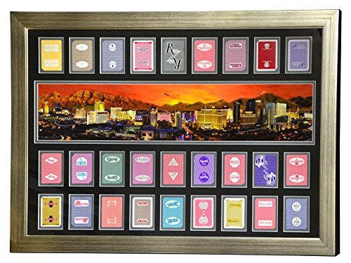 LAS VEGAS HOTELS AUTHENTIC 27 PLAYING CARDS COLLAGE FRAMED #D/100 PANO PHOTO from Inscriptagraphs