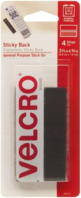 4 Sets 3 1//2/' x 3//4/' Strips VELCRO Brand Black Sticky Back