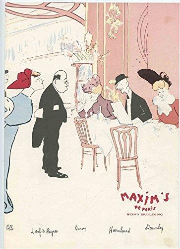 Maxim's de Paris Restaurant Menu Cover Sony Building Paris France Booklet Menu Cover
