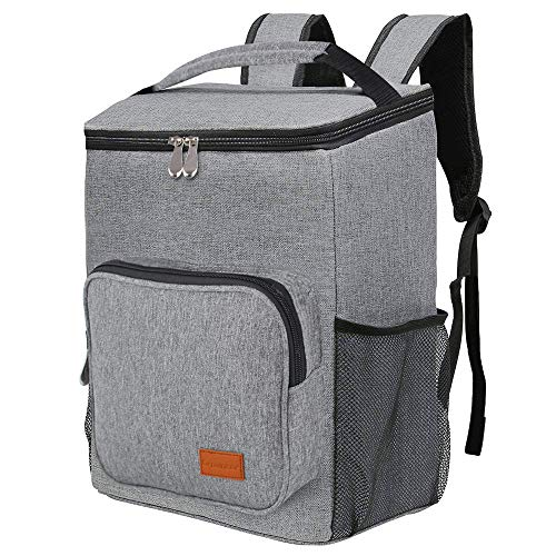 GROWNEER Insulated Backpack Cooler Bag 24 Liter Foldable Lunch Backpack with Cooler, Lightweight, Waterproof Thermal Cooler Bag for Picnic, Hiking, Beach, Park, Gray