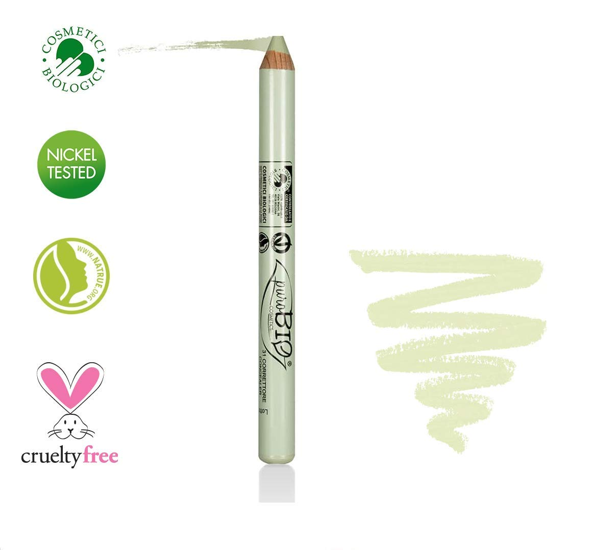 PuroBIO Certified Organic Multitasking Color Corrector Stick GREEN to cover Redness, Acne Marks, Scars with Vitamins, Soy and Apricot Oil. ORGANIC. VEGAN. NICKEL TESTED, MADE IN ITALY