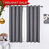 #8: NICETOWN Bedroom Blackout Curtains Panels - Window Treatment Thermal Insulated Solid Grommet Blackout for Living Room (Set of 2 Panels, 52 by 63 Inch,Grey)