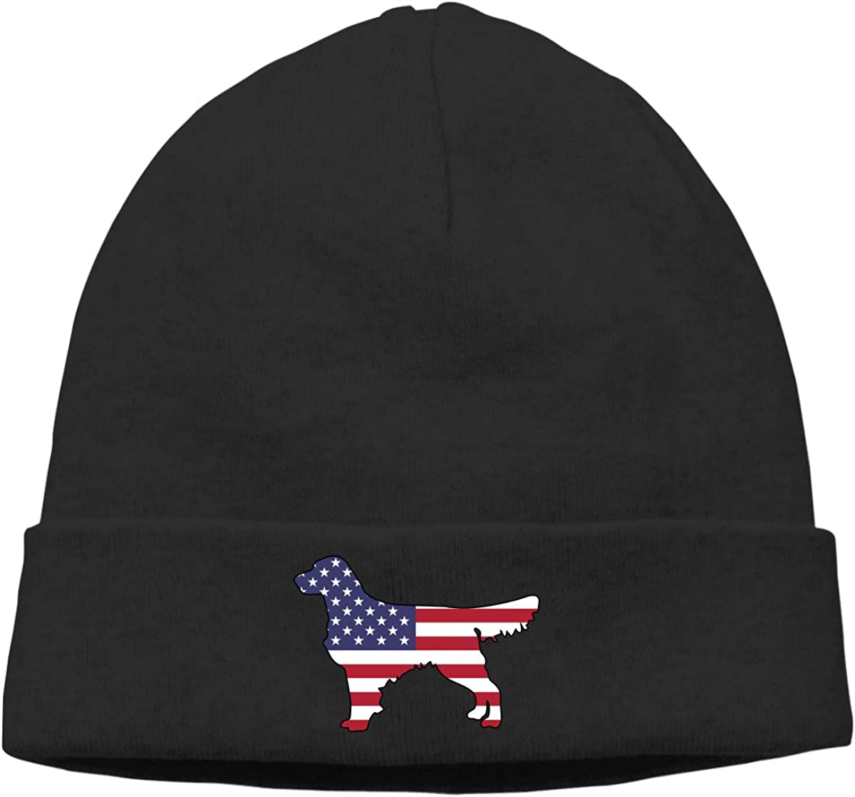 Stretchy /& Soft Winter Cap American Flag Golden Retriever Dogs Women Men Solid Color Beanie Hat Thin