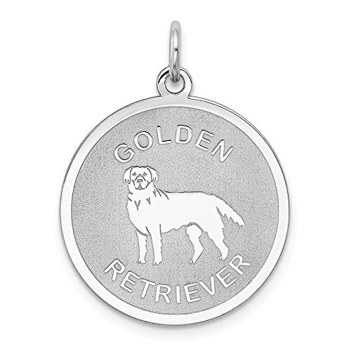 925 Sterling Silver Golden Retriever Disc Pendant Charm Necklace Animal Dog Engravable Round Fine Jewelry Gifts For Women For Her ()