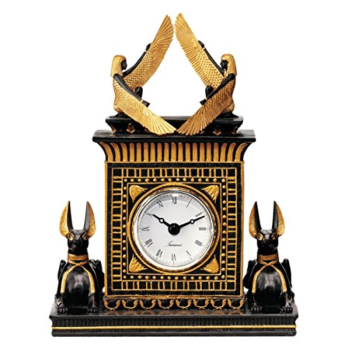 - Design Toscano Egyptian Revival Jackel God Anubis Quartz Clock, 8 Inch, Black and Gold