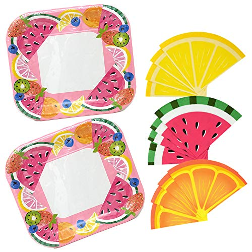 Square Paper Plates, Summer Fruits With Fruit Slice Round Napkins For Luncheons Or Parties 5-pc Bundle