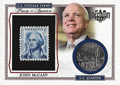 JOHN MCCAIN Leaf Decision 2016 Politcs PIECES OF AMERICA (Washington Stamp & Arizona Coin) Rare Collectible Political Trading Card #PA33