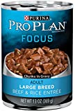 Purina Pro Plan Wet Dog Food, Focus, Adult Large Breed Beef & Rice Entrée Chunks In Gravy, 13-Ounce Can, Pack of 12