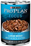 Purina Pro Plan Wet Dog Food, Focus, Adult Large Breed Beef & Rice Entre Chunks In Gravy, 13-Ounce Can, Pack of 12 For Sale