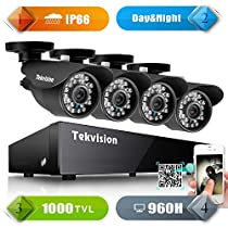 Tekvision 960H DVR Security Camera System with 4x 1000TVL Day/ Night Vision IR- Cut 24Leds Metal Bullet Cameras Outdoor/ Indoor NTSC CCTV IP66 Waterproof APP - HDD Not Included