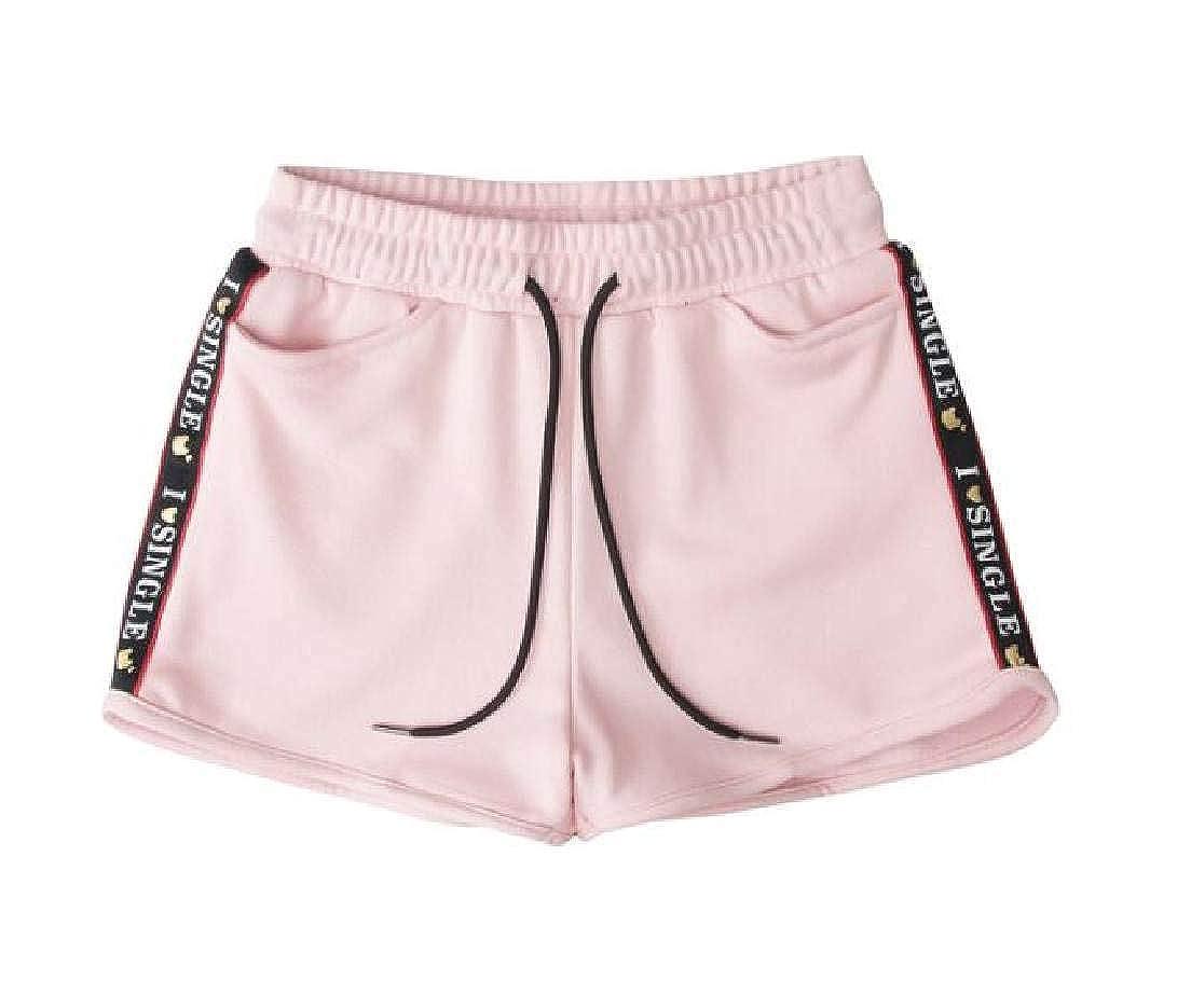 Jofemuho Womens Elastic Waist Drawstring Casual Sweatpant Sport Shorts