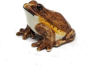 ZOOCRAFT Miniature Ceramic Frog Figurine Brown Animal Collectible Garden Decor Statue