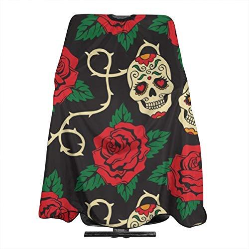 Rose Heart Skull2 Haircut Apron Hair Cutting Cover Diy Hair Design 55 x 66 Inch