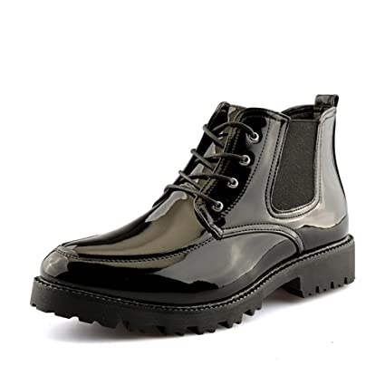 DADIJIER Botines de Moda para Hombre Casual Personalidad Patchwork Charol Bota Superior Alta Durable (Color