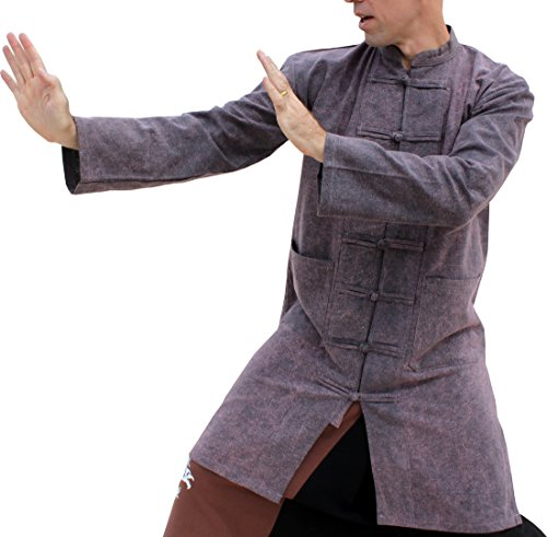 (Svenine Long Chinese Jacket Handmade Kung Fu Tai Chi Shirt with Waist Pockets, X-Large, Stonewashed Cotton Gray Purple)