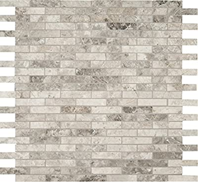 M S International Tundra Gray Interlocking 12 In. X 10 mm Polished Marble Mesh-Mounted Mosaic Floor & Wall Tile, (10 sq. ft, 10 pieces per case)