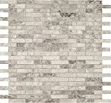M S International Tundra Gray Interlocking 12 In. X 10 mm Polished Marble Mesh-Mounted Mosaic Floor & Wall Tile, (10 sq. ft., 10 pieces per case)