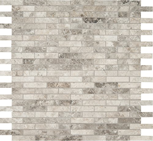 M S International Tundra Gray Interlocking 12 In. X 10 mm Polished Marble Mesh-Mounted Mosaic Floor & Wall Tile, (10 sq. ft., 10 pieces per case) by MS International