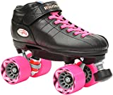 Riedell R3 2016 Pink & Black Quad Roller Derby Speed Skate w/ 2 Pair of Laces (Pink & Black) (Kids 3)