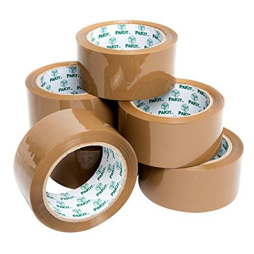 Pakit 6Klebeband-Rollen, braun, für Verpackung von Schwerlast, für Pakete und Boxen, Extra Haftung • 48mm x 66m von Pakit®
