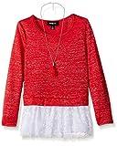 Amy Byer Big Girls' Sparkle Sweater with Lace Hem