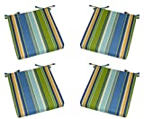 """Set of 4 - Indoor / Outdoor Blue, Yellow, Green Stripe Universal 2"""" Thick Foam Seat Cushions with Ties for Dining Patio Chairs - Choose Size (21'' x 20'')"""