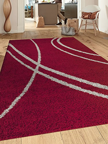 Rugshop Cozy Contemporary Stripe Indoor Shag Area Rug, 3'3